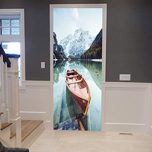 Preisvergleich Produktbild XXXCH 3D Kanu 90X200 Cm Tür Aufkleber Tür Aufkleber Dekorative Tür Mural Abnehmbare Vinyltür Wand Tapete Dekoration Tapete