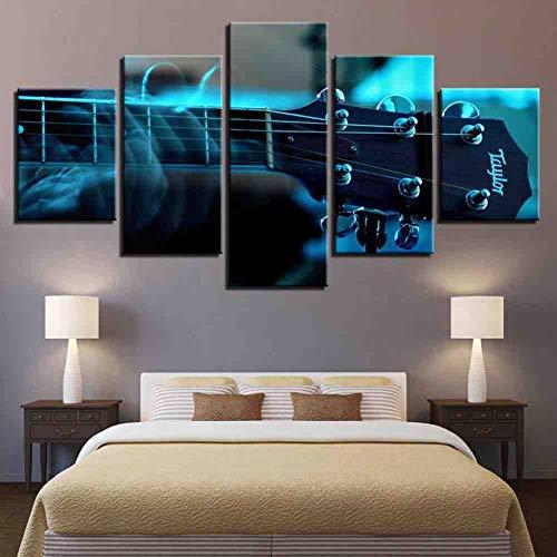 GIAOGE Canvas muurkunst schilderijlijsten wooncultuur poster 5 stuks gitaar tuner muziekinstrument Hd gedrukt schilderij voor de woonkamer mit gerahmten 20x35 20x45 20x55 cm