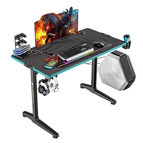 EUREKA ERGONOMIC Gaming Tisch mit LED P44 Gaming Schreibtisch mit RGB Beleuchtung PC Tisch Gaming Gamer Tisch mit Getränkehalter und Kopfhörerhalter 112*60 CM Schwarz
