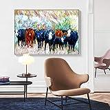 hetingyue Arte de la Lona Pintura Abstracta Animal de la Vaca Sala de Estar Moderna Pintura al óleo Pintura de la Pared sin Marco Pintura sobre Lienzo 50X75 CM