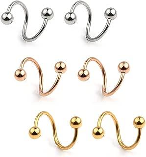 16G Stainless Steel Twist Ear Plug Earring Spiral Helix Stud Lip Ring Body Piercing Jewelry 8mm 10mm