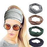 4 Pack Women Headbands Elastic Turban Head Wrap Workout Headband Twisted Hair Band Cute Hair...
