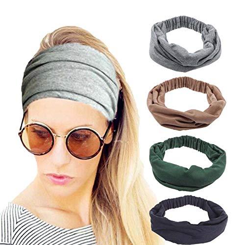 4 Pack Women Headbands Elastic Turban Head Wrap Workout Headband Twisted Hair Band Cute Hair Accessories