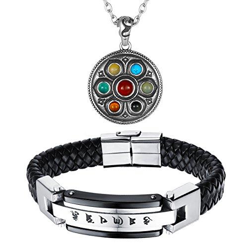 Aroncent Lederarmband Herren Edelstahl Armband Schwarz Armreif mit Gravur Magnetverschluss Wickelarmband mit Mantra Kette Anhänger Buddha Halskette für Herren