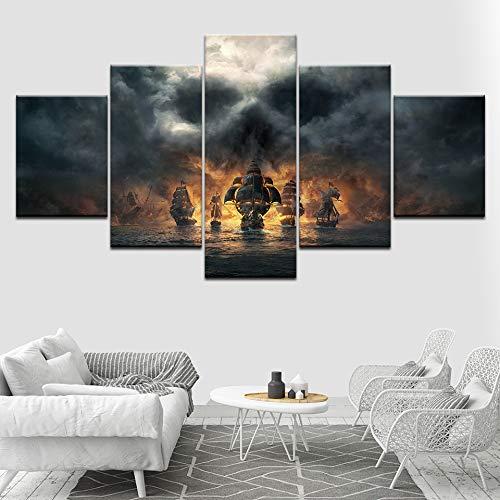 CXZZV Impresión Lienzo Pintura, Cuadro Moderno 150x80cm 5 Piezas Barco Pirata del Caribe Impresiones del Arte de la Pared Decoración de Pared Arte Pintura para Hogar Salón Oficina