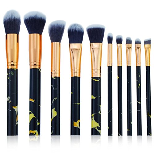Skyeye Lot de 10 pinceaux de maquillage - Motif marbre - Noir