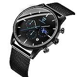 腕時計 メンズ おしゃれ シンプル ビジネス クロノグラフ 多機能 防水 アナログ腕時計 日付表示 メッシュ バンド 時計 ブラック