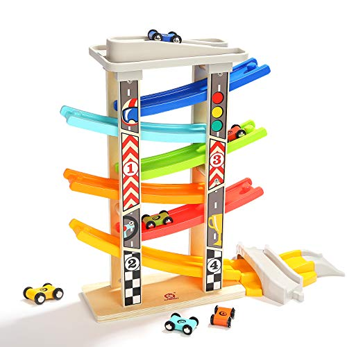 TOP BRIGHT Toddler Car Track Toys for Boy 2 Year Old Gifts with Car Ramps 6 Wood Race Car 1 Parking Garage & Extra Bridge