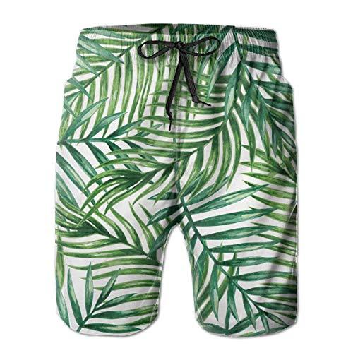 Générique Mens Occasionnel Palmiers tropicaux Longueur Moyenne été Cordon de Plage Shorts de Plage Pantalon de Surf Pantalon m