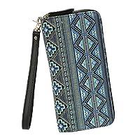 moda portafogli lungo con zip da donna borsellino portamonete wallet pochette tela regalo per donna- très chic mailanda (boemia-blu)