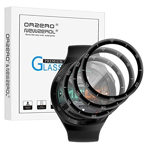 NEWZEROL 3 Stück Kompatibel für Huawei Watch GT 2e 46mm Schutzfolie,3D Kohlefaserkante Bildschirmschutzfolie, Vollabdeckung Premium Flexibles Glas, Anti-Kratzer Blasenfrei Panzerglas (Nicht für GT 2)