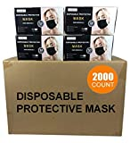 2000 PCS Wholesale Bulk Disposable BLACK Face Masks (40 Boxes, 50pcs/Box), 3-Layers Breathable Face Mask (Black - 2,000 PACK)
