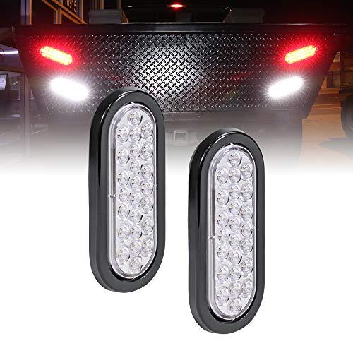 2pc 6 White Oval LED Reverse Trailer Tail Light Kit [DOT FMVSS 108] [SAE (2) R] [24 LED] [Grommet & Plug Included] [IP67 Waterproof] [Back Up Signal] Trailer Lights for Boat Trailer RV Trucks