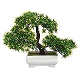 Leoie - Mini árbol de pino artificial, diseño de árbol de Bonsai falso, decoración de planta, no se destiñe, no se destiñe, no se rega, maceta para interior, oficina, hogar