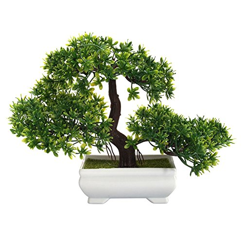 Accreate Mini Fake Plants Creative Bonsai Tree Artificial Plant Not Faded No Watering Potted for Office Home Decor