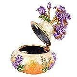 Forma de jarrón Hecho a Mano Aleación Joyero Organizador Caja de Baratija Regalo Agradable Estilo Vintage Joyero Arte Artesanía Decoración(Orange)