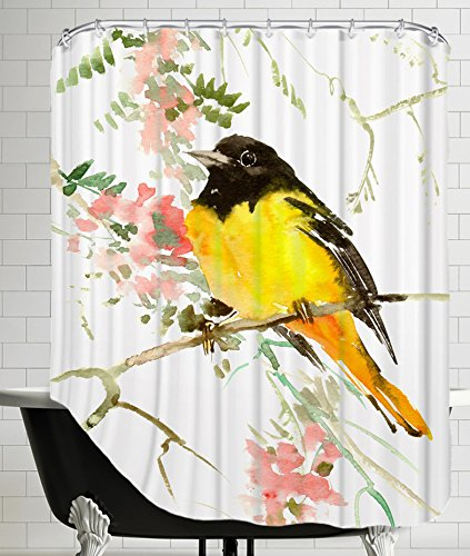 American Flat A108P515SHOW7174 Baltimore Oriole Shower Curtain by Suren Nersisyan, 71' x 74'