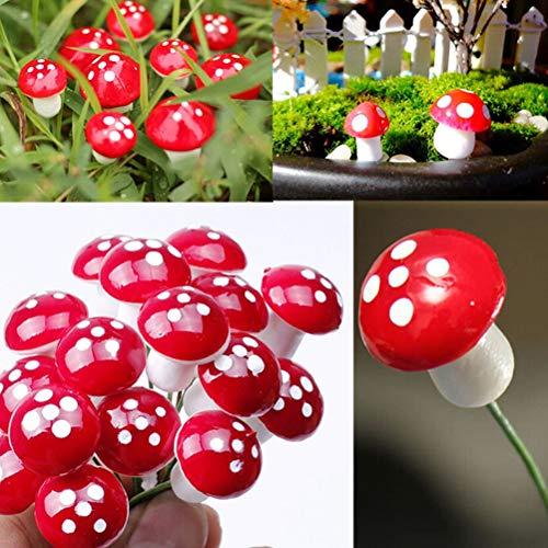 Wawogic 50Pcs Miniaturas de Setas Rojas para Jardín de Hadas Botella de Bricolaje Paisaje Figura de Seta Decorativa Decorativa DIY Micropaisaje decoración de Jardín Adornos Accesorios