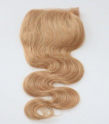 100 % cheveux humains vierges, texture ondulée, dentelle suisse, fermeture sur le dessus, 12,7 x 12,7 cm, raides et soyeux avec nœuds décolorés, coule