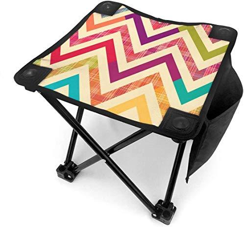 SH1688 Campinghocker, zusammenklappbar, Regenbogenfarben, helles Zickzack-Muster, tragbarer Stuhl, Camping, Jagd, Angeln, Reisen mit Tragetasche