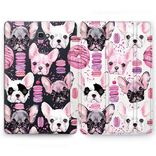 Wonder Wild Case Compatible with Samsung Galaxy Tab Donuts Doggy S4 S2 S3 A E S6 Lite S5e S7 Plus Tablet Cover 8 Pen 9.7 10.1 10.5 Inch Clear Design Cute Animals Little French Bulldog Adorable Sweet