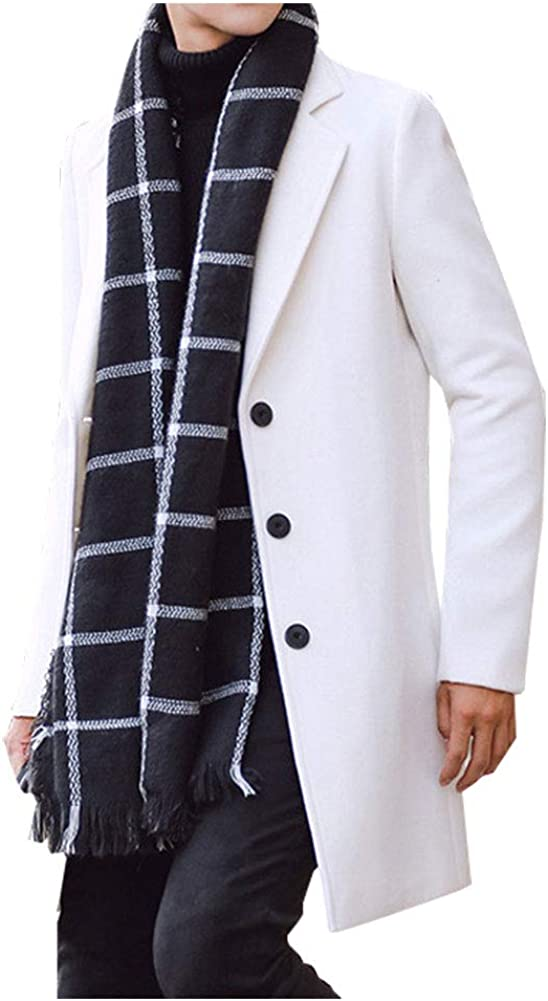 KEDERA Men's Notched Lapel Collar Wool Blend Mid Long Single Breasted Trench Coat Jackets