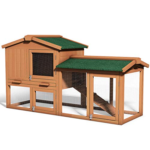 Tangkula Large Chicken Coop, 58'' Wooden Hen House Outdoor Backyard Garden Bunny Rabbit Hutch with Ventilation Door, Removable Tray & Ramp Chicken Coop (58 inches)