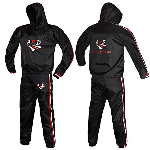 ARD Heavy Duty Sweat Suit Sauna Exercise Gym Suit Fitness, Weight Loss, Anti Rip Hooded (XL)