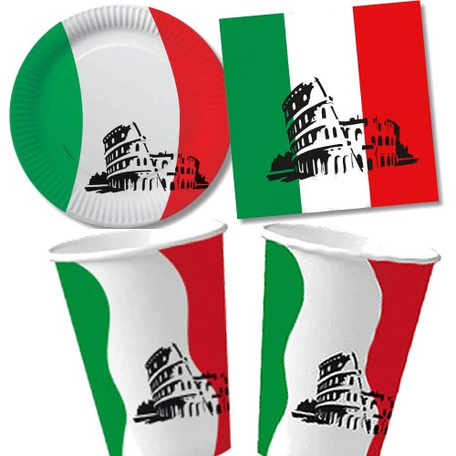 40 tlg. ITALIEN-Set Pappteller + Servietten + Pappbecher für Party und Geburtstag // Teller Becher Essen Pappe Geschirr Deko Dekoration Einweg Mottoparty Italienische Nacht Italy