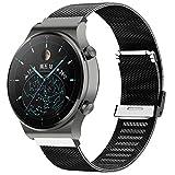 Kobmand Correas Compatible con Watch GT 2 Pro,Pulsera de Acero Inoxidable Agradable para Huawei GT 2 Pro/GT 2 46MM/Watch GT/Watch GT 2e (Negro)
