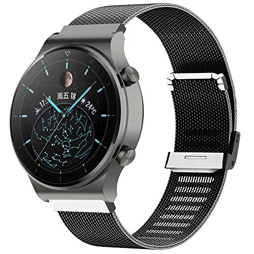 Kobmand Straps Compatible with Watch GT 2 Pro, Nice Stainless Steel Bracelet for Huawei GT 2 Pro / GT 2 46MM / Watch GT / Watch GT 2e (Black)