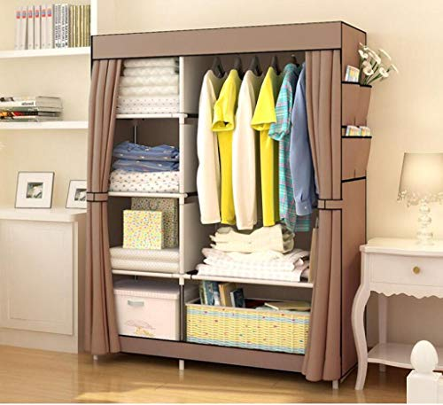 AYUANCHUN Eenvoudige garderobe - Gordijn stijl garderobe, Versterkte opvouwbare stalen frame kast, Kleding opslag organisator, Maak een comfortabel huis voor u.41.3in x 17.7in x 66.1in