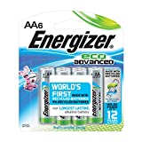 Energizer EcoAdvanced AA Batteries, Energizer's Longest-Lasting Alkaline 6count (Pack of 6)