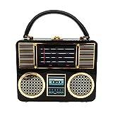 Vintage Hard Case Acrylic Radio Box Clutch Mujeres Totes Bag Hombro Crossbody Bolso Monedero