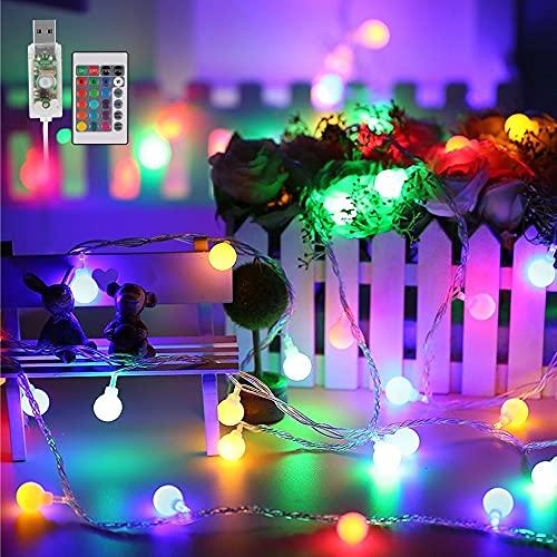 Cadena Luces,  50 LED Guirnaldas Multicolor Led Luces,  16 Colores 4 Modos Guirnaldas de Luces USB,  Luces de Hadas con Temporizador y Control Remoto para Interior,  Exterior,  Fiesta,  Boda,  Navidad
