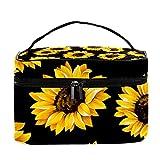 Bolsa de maquillaje de viaje con patrón de girasol amarillo, bolsa de maquillaje, organizador con cremallera, para mujeres y niñas