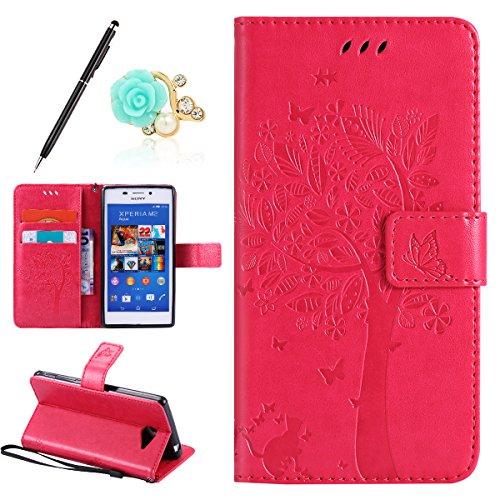 Uposao Kompatibel mit Sony Xperia M2 Leder Tasche Schutzhülle Vintage Schmetterling Baum Katze Muster Brieftasche Handyhülle Ledertasche Lederhülle Bookstyle Handy Tasche,Hot Pink