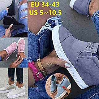 2019 Women Fashion Hidden Wedge Heel Letter Shoes Faux Suede Slip On Sneakers Plus Size(Blue,US10.5)
