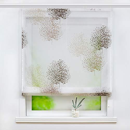 Joyswahl Voile Raffrollo mit Baummotiv Druck transparente Raffgardine mit Klettschiene »Theresia« Schals Fenster Gardine BxH 140x140cm 1 Stück