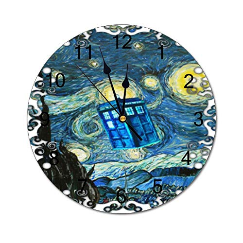 Tian Smile Dr Who Tardis Police Box 10 inch Wall Clock, Silent, Graduated Battery Power, Suitable for Home Office and School use