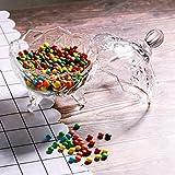 ComSaf Bonboniere mit Deckel Ф14cm, Zuckerdose aus Glas Klein, Lebensmittelechter Glasbehälter für Snacks - 4