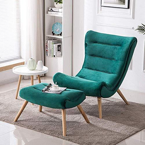 Office Life Einzelsofa Lazy Sofastuhl Wood Lounge Chair W/Ottoman für Wohnzimmer, Schlafzimmer, Club Specialties Liegestuhl (Farbe: Pink, Größe: Free Size)