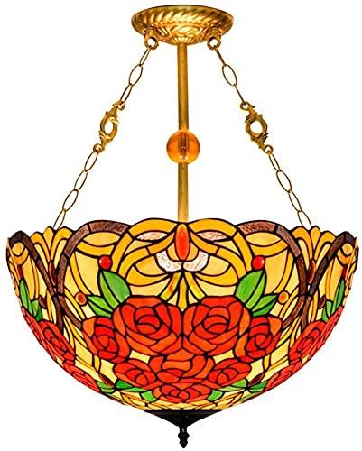 TOPNIU Art Nouveau Tiffany Style Lámpara Colgante de 20 Pulgadas Vintage Vintage Flores Pastorales Sombra E27 3 Luces Luz Colgante de Techo invertido para Dormitorio 110V-240V
