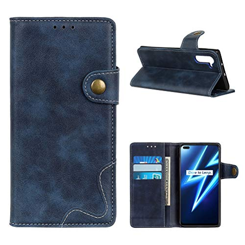 "EUDTH Realme 6 PRO Cover, Leather Case Wallet Slot Cards Flip Cover Kickstand Magnetic Protective Shockproof Phone Case Case for Realme 6 PRO 6.6 ""-Blue"