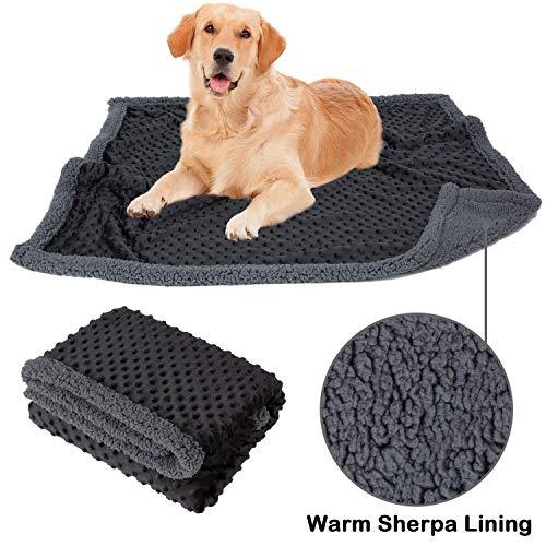 Allisandro Flauschige Hundedecke【120x70cm Anthrazit】 Katzen Decke mit super softe weiche zweiseitige Material Haustier-Decke, perfekt für Hundebett Sofa und Couch