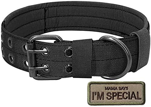 Tactical Nylon Hundehalsband, S.Lux Military Einstellbare Hundehalsband mit Metallschnalle Training Halsband Haustier Hundehalsband Klettpatches Angebracht Werden