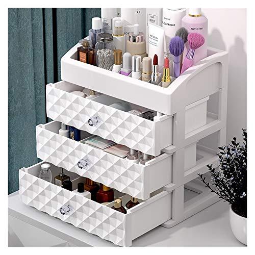 Caja de joyería caja de almacenamiento de cosméticos tres capas maquillaje maquillaje joyería organizador escritorio lápiz labial uñas aceite contenedor belleza estuche cosmético ( Color : Rosado )
