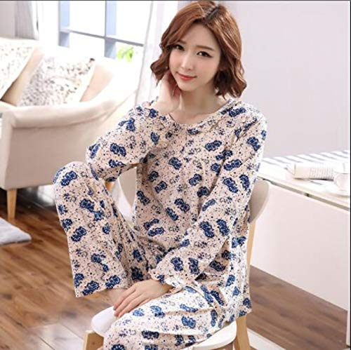 XFLOWR Frühling 100% Baumwolle Blumen Damen Langarm Pyjama Set Plus Size M-4XL Lose...