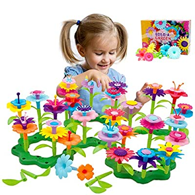Byserten Gifts for 3-6 Year Old Girls Flower Garden Building Set 98 PCS Arts and Crafts for Girls 11 Colors Birthday Gifts Christmas by Byserten