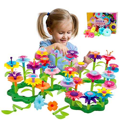 Byserten Gifts for 3-6 Year Old Girls Flower Garden Building Set 98 PCS Arts and Crafts for Girls 11 Colors Birthday Gifts Christmas